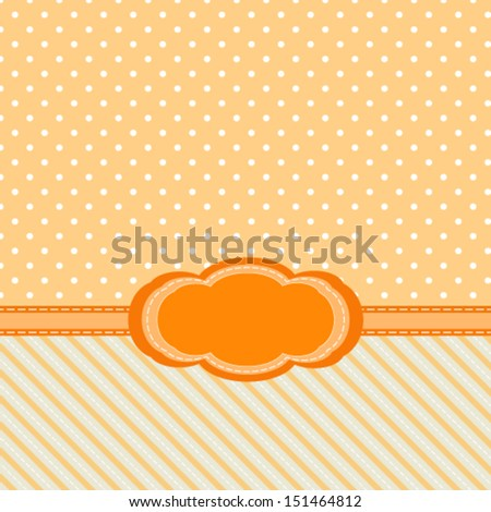 vintage abstract yellow background with diagonal stripes and polka dots, for invitation or greeting card. Vector, EPS 8  - stock vector