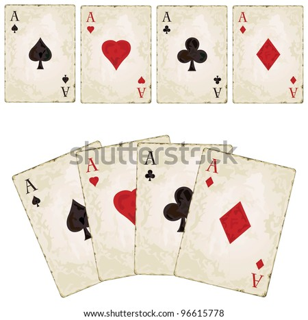 Vintage aces, poker - stock vector