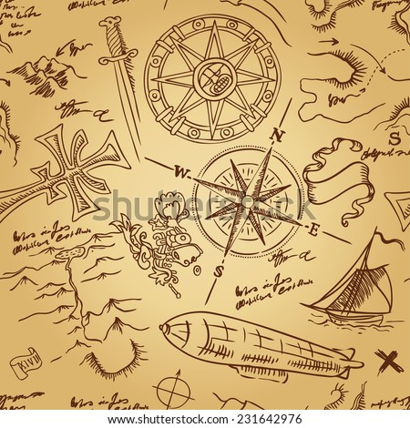 Vintage Adventures: seamless pattern.Vector illustration. - stock vector