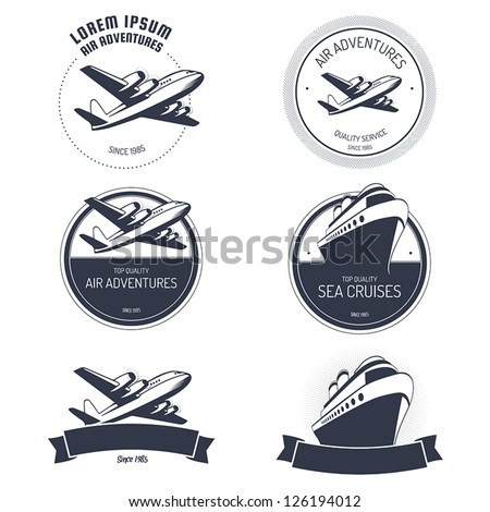 Vintage air and cruise tours labels and badges - stock vector