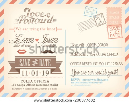 Vintage airmail postcard background vector template for wedding invitation card - stock vector