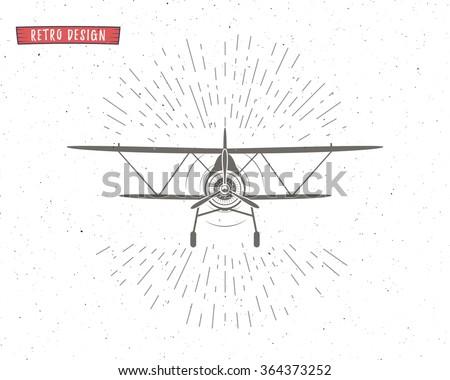 Vintage Airplane background with sunbursts. Flying emblem. Biplane label. Retro Plane wallpaper, design elements. Old prints for t shirt. Aviation brochure, flyer. Travel motivational poster.  - stock vector