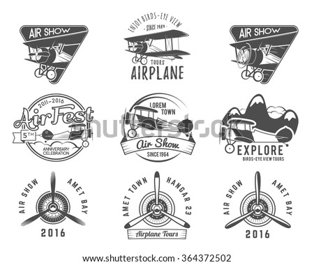 Vintage airplane emblems. Biplane labels. Retro Plane badges, design elements. Aviation stamps collection. Airshow logo and logotype. Fly propeller, old icon, isolated on white background. Vector - stock vector