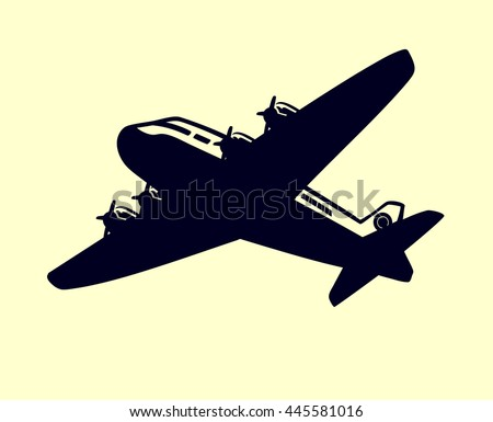 Vintage airplane vector clip art, simple monochrome aircraft with propellers - stock vector