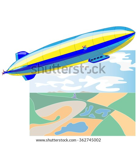 Vintage airship. Dirigible balloon. Vector illustration isolated. - stock vector