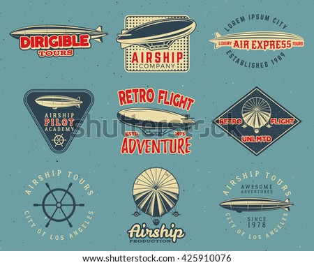 Vintage airship logo designs set. Retro Dirigible badges collection. Airplane Label vector design. Old sketching style. Use as fly logos, labels, stamps, patches for web design, tee design, t-shirt. - stock vector
