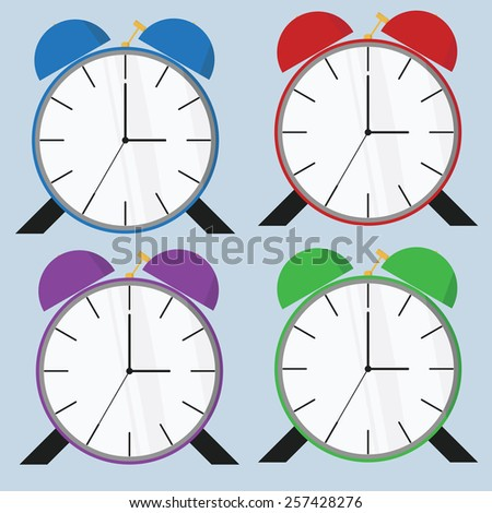 Vintage Alarm Clock Colors Vector illustration - stock vector