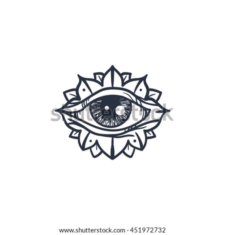 Vintage All Seeing Eye in Mandala. Providence magic symbol for print, tattoo, coloring book,fabric, t-shirt, cloth in boho style. Astrology, occult and tribal, esoteric and alchemy sign. Vector - stock vector