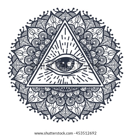 vintage all seeing eye in triangle and mandala providence magic symbol for print tattoo