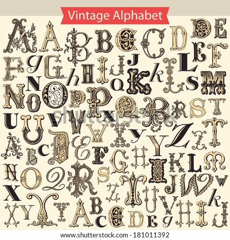 Vintage Alphabet  - stock vector