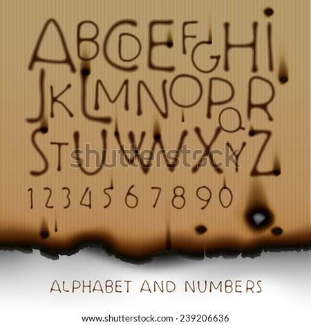 Vintage alphabet and numbers on burned out paper background, vector illustration.  - stock vector