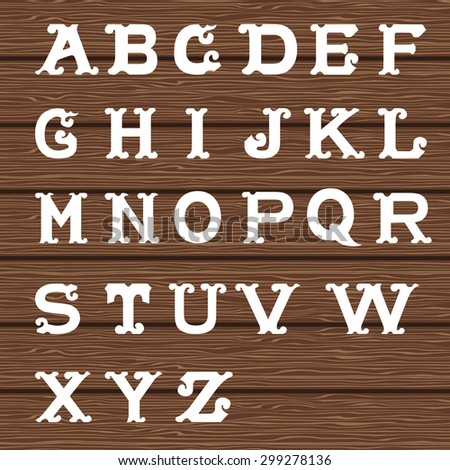 Vintage alphabet on wooden background. Vector illustration - stock vector