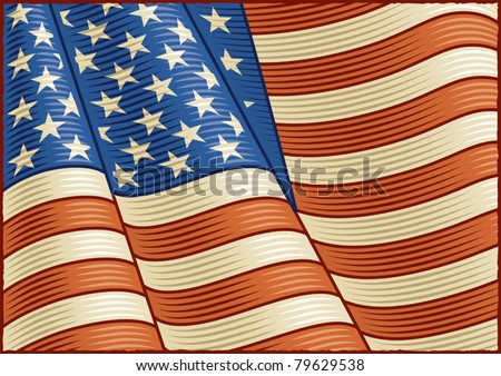 Vintage American Flag (close-up). Vector - stock vector