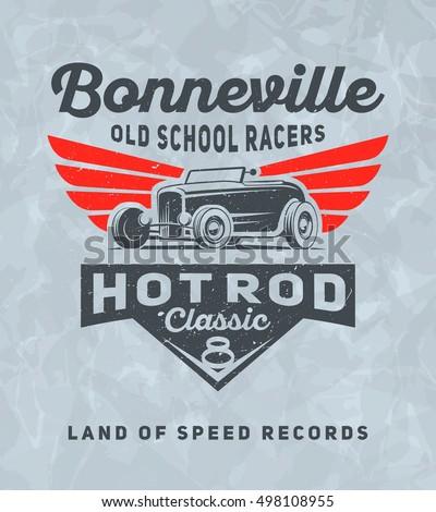 Vintage american hot rod car printing stock vector for Marathon t shirt printing