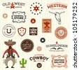 Vintage American old west western designs and graphics - stock vector