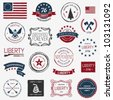 Vintage American revolutionary war badges, labels and designs - stock vector