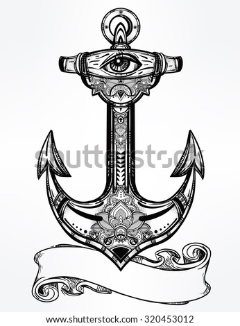 Vintage anchor symbol with copy space for your text.. Highly detailed hand-drawn ornate element. Alchemy, spirituality, occultism, tattoo art, boho, hipster concept art. Isolated vector illustration. - stock vector