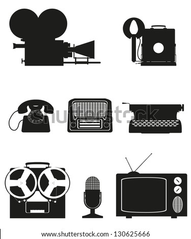 vintage and old art equipment set icons black silhouette video photo phone recording tv radio writing vector illustration isolated on white background - stock vector