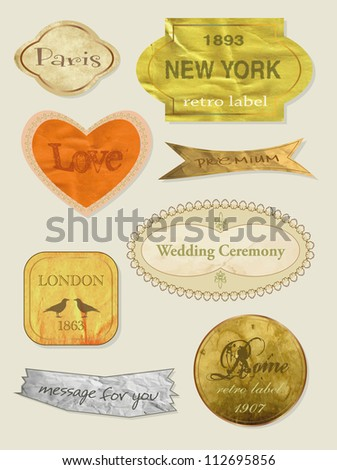 Vintage And Retro Design Elements. old papers, labels in retro and vintage style. Vector Illustration. - stock vector