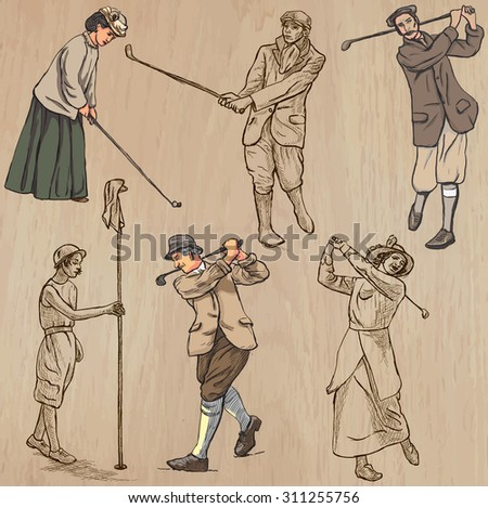VINTAGE and retro GOLF, Golfers and Golf Equipment. Collection of an hand drawn illustrations (line art vectors). Drawings comprises a few layers of lines, background is isolated. Editable in groups. - stock vector