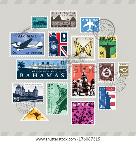 Vintage Retro Vector Post Stamps Set Stock Vector