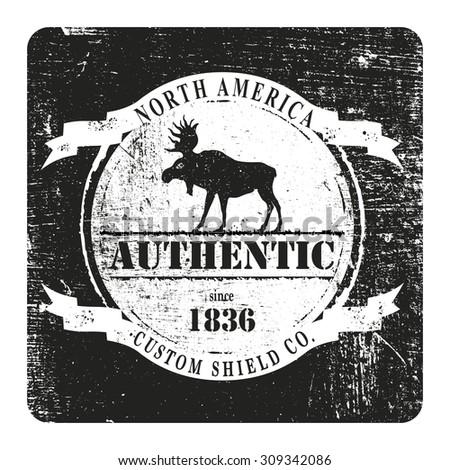 vintage and stencil moose shield - stock vector