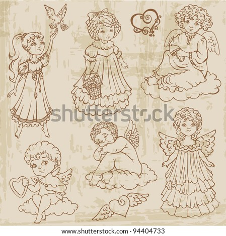 Vintage Angels, Dolls, Babies - hand drawn in vector - stock vector