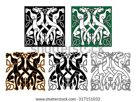 Vintage animal pattern with decorative wolves intertwining tails and legs, adorned by celtic knot ornamental elements for tattoo or medieval art design - stock vector