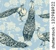 Vintage antique background, fashion seamless pattern with birds, white peacocks on blue wallpaper, creative fabric, wrapping with graphic floral ornaments - summer and spring theme for design - stock photo