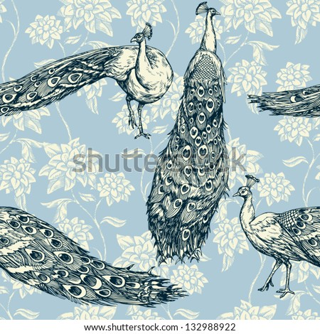 Vintage antique background, fashion seamless pattern with birds, white peacocks on blue wallpaper, creative fabric, wrapping with graphic floral ornaments - summer and spring theme for design - stock vector