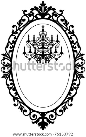 Vintage, antique picture frame with baroque chandelier black silhouette, full scalable vector graphic, change the colors as you like. - stock vector