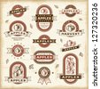 Vintage apple labels set. Vector - stock vector