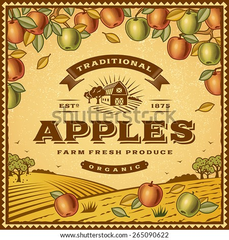 Vintage apples label. Editable EPS10 vector illustration with clipping mask and transparency. - stock vector