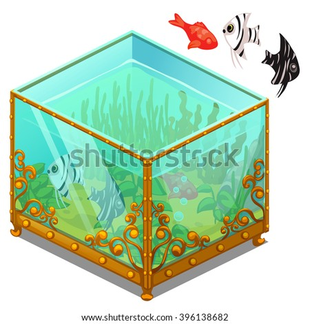 Vintage aquarium with Golden patterns and exotic fish. Vector illustration. - stock vector