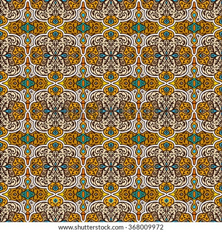 Vintage arabic and islamic background, ethnic style ornaments, creative ornamental seamless pattern, decorative vector wallpaper, fashion fabric and wrapping with graphic elements for design - stock vector