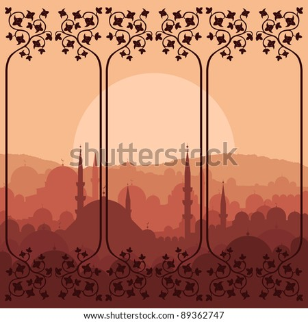 Vintage Arabic city landscape background illustration - stock vector