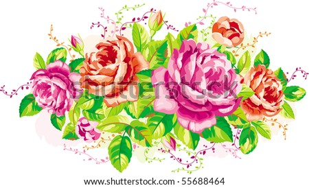 Vintage arrangement of pink and red roses - stock vector