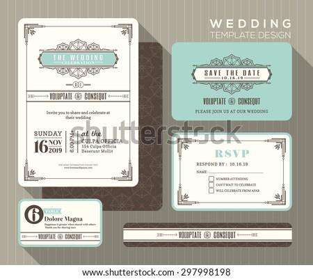 Vintage art deco wedding invitation set em vetor stock 297998198 vintage art deco wedding invitation set design template vector place card response card save the date stopboris Images