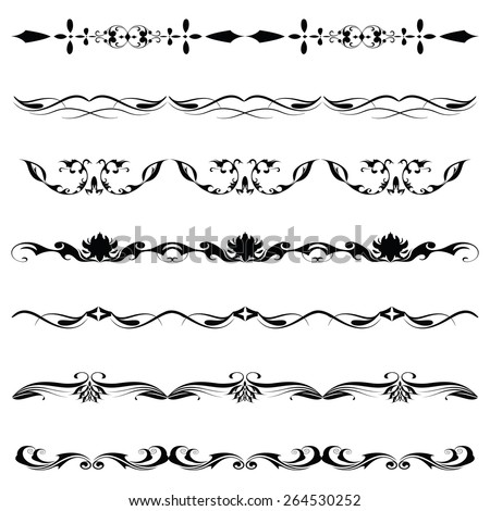 Vintage Artistic Horizontal Curvy Swirl Line Silhouette Decoration Collection Set Pack - stock vector