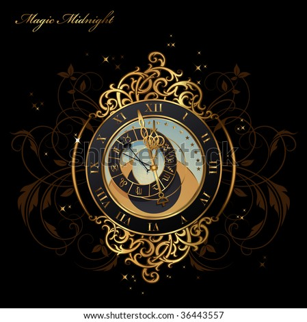 vintage astronomical clock shortly before midnight - stock vector