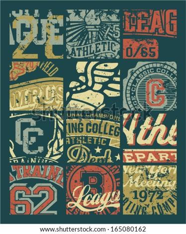 Vintage athletic department  badges patchwork - Grunge vector artwork for boy sportswear in custom colors - stock vector