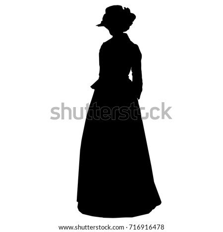 Vintage attractive female silhouette in victorian style antique dress hat with feathers curly