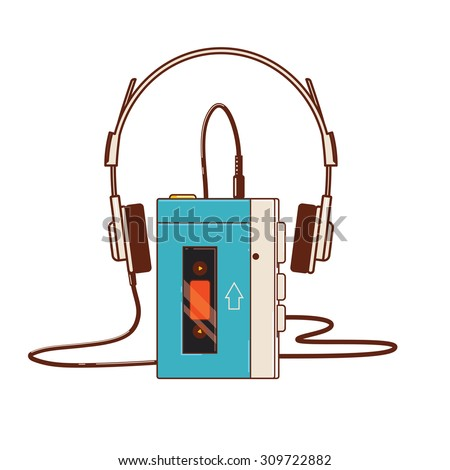 Vintage audio cassette player isolated on white background. The first portable cassette player unit from 1979  - stock vector
