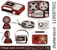 Vintage audio icons 3 - stock vector