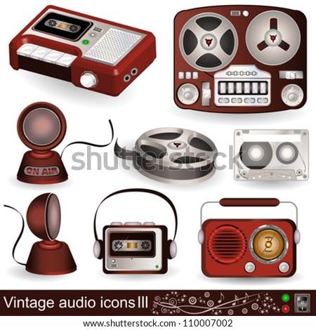 Vintage audio icons 3 - stock vector