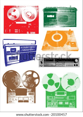 Vintage audio players - stock vector
