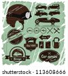 Vintage automotive labels and signs set with one detailed retro helmet. - stock vector
