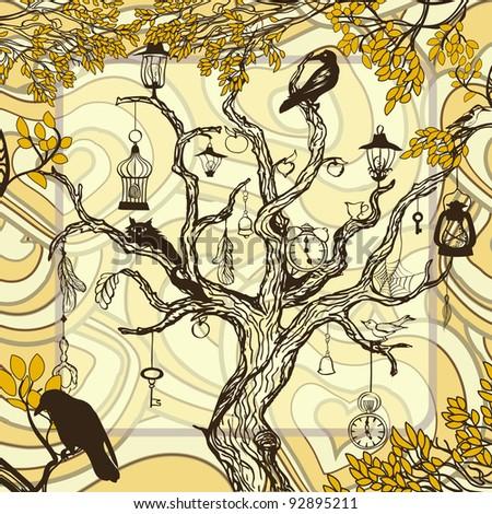 Vintage autumn background with handwritten magic tree - stock vector