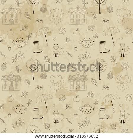 Vintage autumn seamless background - stock vector