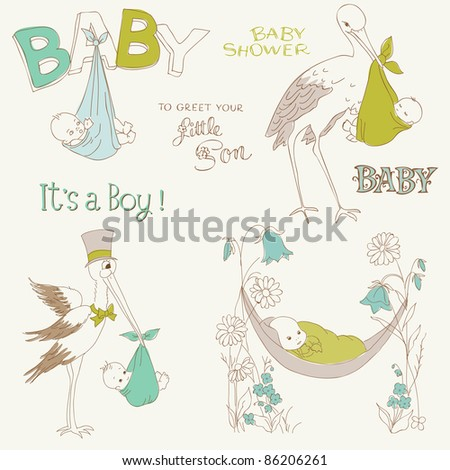 Vintage Baby Boy Shower and Arrival Doodles Set - design elements for scrapbook, invitation, cards - stock vector
